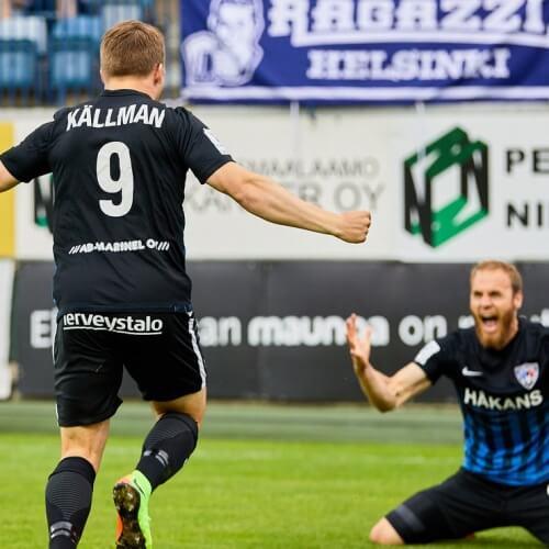 Veikkausliiga Asian Handicap: Inter Tuku's Benjamin Källman run for a hug as they close the match against Veikkausliiga number one HJK into a draw.