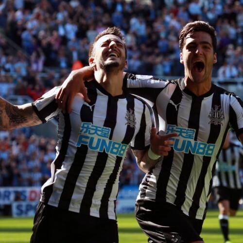 Newcastle players celebrated