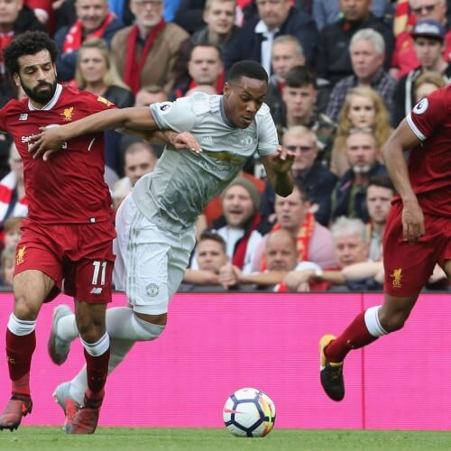 Liverpool's Mo Salah against Man Utd