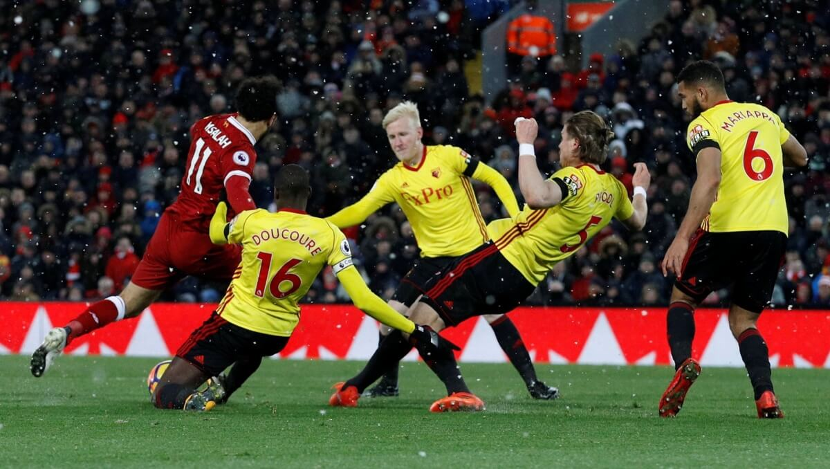 Watford defenders flailed as Mohamed Salah squeezed in a