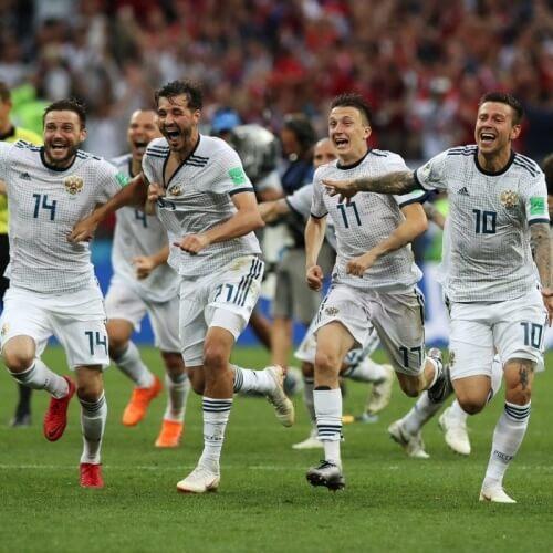 Russia celebrates win