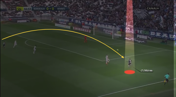 eastbridge sports brokerage, eastbridge skype betting, La Liga Player Analysis Barcelona's Malcom, Image 3 - Malcom in ideal 1v1 after receiving switch