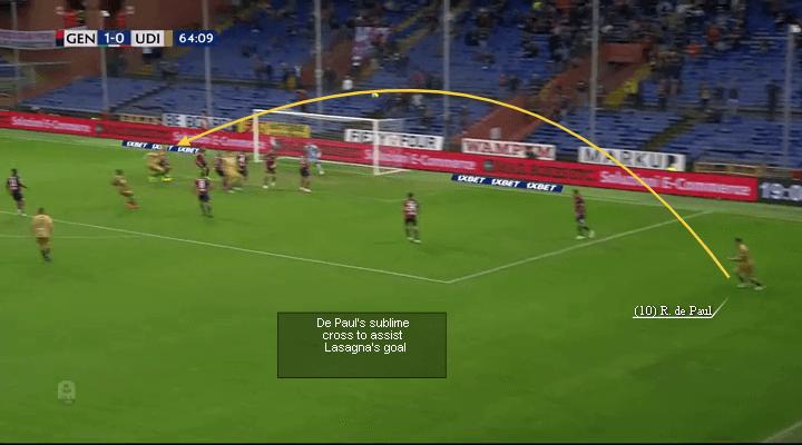 Udinese Calcio's Rodrigo De Paul, De Paul assist