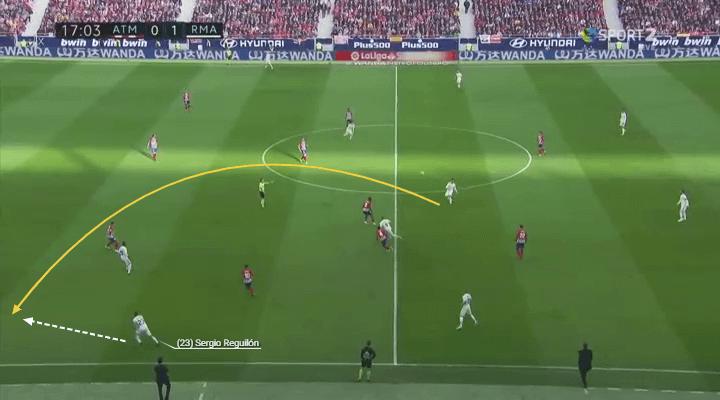 Player Analysis Sergio Reguilon brilliant stretching run in behind