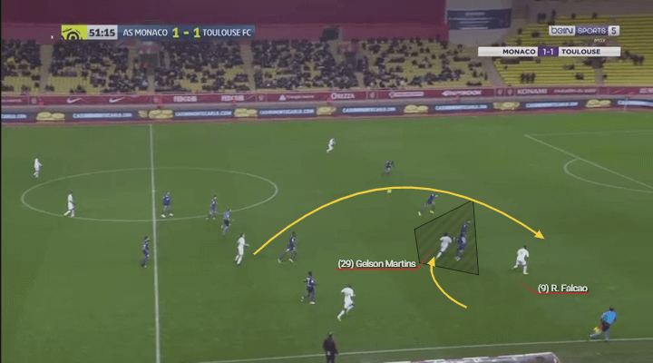 Gelson Martins' brilliant decoy run draws two markers so Falcao can run in behind freely