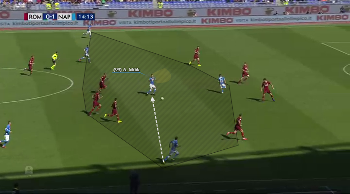 Arkadiusz Milik's receiving between lines forward facing